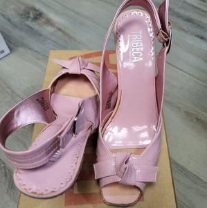 TRIBECA Pink Patent Sling-Back Heels